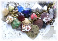 Vintage Heart Charm Bracelet Floral Roses Cloisonne from thevintageheart on Ruby Lane