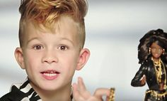A Barbie commercial that features a boy playing with the doll for the first time ever is getting praise for challenging gender barriers  http://www.dailymail.co.uk/news/article-3321493/Adorable-boy-Mohawk-stars-new-commercial-sold-Moschino-Barbie.html?ito=social-facebook