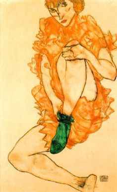 "egon schiele, ""the green stocking"". potently if unintentionally autumnal."