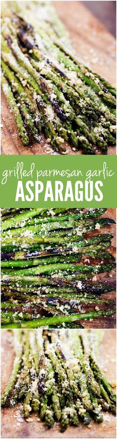 This Grilled Parmesan Garlic Asparagus is the BEST side! The smoky charred edges add so much delicious flavor to this tender asparagus! - Grilled Asparagus Recipe (w/ Parmesan & Garlic) Grilled Asparagus Recipes, Parmesan Asparagus, Grilled Vegetables, Asparagus On The Grill, Halibut Recipes, Grilled Food, Fresh Asparagus, Shrimp Recipes, Grilling Recipes