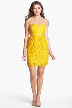 Love every color this comes in. Yellow is perfect though! Hudson Lace Sheath Dress by Jenny Yoo Collection on @nordstrom_rack