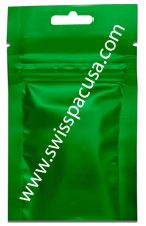3g GREEN 3-SIDED SEAL POUCH B/O WITH ZIP. Visit us at https://www.swisspacusa.com/products-page/3-side-seal-with-hang-hole-3-side-seal-with-hang-hole/3g-green-3-sided-seal-pouch-bo-with-zip