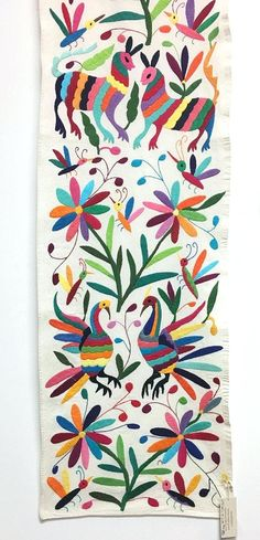 cd92a2d13cc Otomi Textiles Handmade In Mexico Embroidered Textile Rainbow Of Colors  Finished Table Runner With Fringe Hand Embroidery On Ivory Cotton From Home  Interior ...