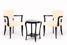 French Art Deco Bridge Armchairs and Table, 1930s