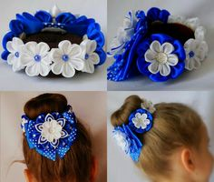 Discover thousands of images about Vnen goe boltnuud Diy Lace Ribbon Flowers, Kanzashi Flowers, Ribbon Art, Fabric Flowers, Girl Hair Bows, Girls Bows, Flower Bun, Bun Wrap, Baby Girl Hair Accessories