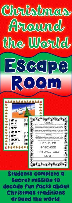 The Christmas Around the World Escape Room will take students on a secret mission around the classroom! This escape room has students decode fun and interesting facts about Christmas traditions around the world. This is the perfect resource for December fun! The Christmas Around the World Escape Room has students walking around the classroom breaking codes. No Prep, Print & Go!! #christmas #christmasactivities #ChristmasAroundtheWorld #escapegames
