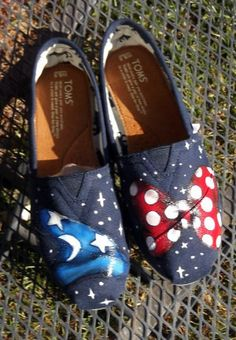Also cute. Fantasia Mickey Mouse Wizard Hat Minnie Mouse Red Bow Any size Mens Womens Children Custom Painted Shoes. $104.00, via Etsy.