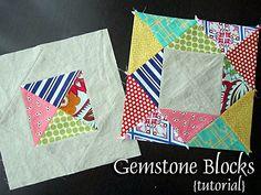 Gemstone blocks tutorial.  Adding to list of quilt blocks to make....potholders? Trivets? Pillows?