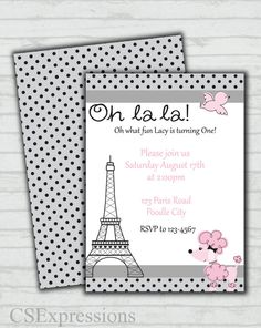 Poodle in Paris First Birthday Invitation