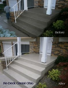 Decorative concrete resurfacing contractors - Columbus, Ohio.  Check-out the before & after of these front steps!