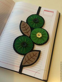 Купить Закладка для книг из фетра Зеленая 2 к 8 Марта - зеленый, подарок на любой случай
