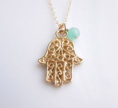 Gold Hamsa Necklace with Mint Green Jade #etsy