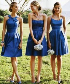 Not pinning this for color/dresses but cool idea of same color but different styles for each bridesmaid?