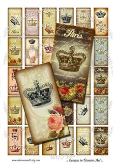 Domino art images. 30 images 1x2 inch each. Great for pendants, mixed media, aceo, scrapbooking, collage, tags, altered art. $3.50 #domino-art #altered-art