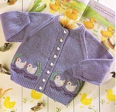 Picture ducks cardigan baby vintage knitting pattern PDF instant download