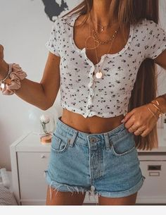 Denim shorts, white top and accessories