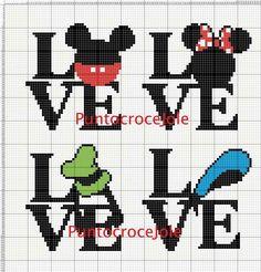 Minnie and Mickey Mouse love x-stitch Cross Stitch Baby, Cross Stitch Alphabet, Modern Cross Stitch, Cross Stitch Charts, Graph Crochet, Crochet Cross, Disney Cross Stitch Patterns, Cross Stitch Designs, Cross Stitching