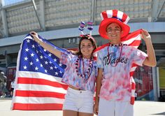 USA!  Emily Fichera and Trevor Fournier traveled from Florida to cheer for the United States during their next match against Nigeria on June 16, 2015.