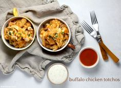 Totally a thing - as in these delicious buffalo chicken totchos! Baked Chicken Breast, Boneless Chicken Breast, Create A Recipe, Ranch Dressing, Shredded Chicken, Buffalo Chicken, Rotisserie Chicken, Cooking Time, Cravings