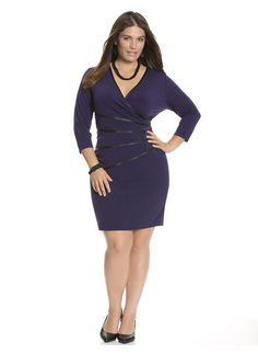 Lane Bryant Plus Size Wrap dress with faux leather trim - - The one dress style that works for all #Curvy Gals http://poshonabudget.com/2014/10/the-one-dress-style-that-works-for-all-curvy-gals.html via @poshonabudget