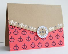 DeNami Nautical Anchors card by Felts Felts Elliot Diy Scrapbook, Scrapbooking, Nautical Cards, Arts And Crafts, Paper Crafts, Get Well Cards, Masculine Cards, Homemade Cards, Handmade Crafts