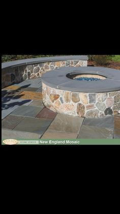 Stone fire pit with seating area