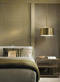 contemporary bedroom decor and lighting fixture in golden colors for modern interior design