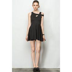 Overlap Stripe Black Little Dress | Your Style Code