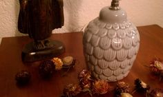 Scalloped Art Deco Gray Ceramic Table Lamp by CandyCollins on Etsy. $22.00, via Etsy.