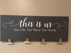 This is us family picture holder, picture frames, picture clips, wood signs, pallet signs, home decor by Rusticpalletshop1 on Etsy