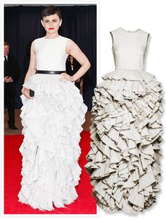 For the White House Correspondents' Dinner, #GinniferGoodwin chose an organic cotton H & M gown from the retailer's new red carpet collection. http://news.instyle.com/2012/04/30/ginnifer-goodwins-white-house-dinner-white-hm-dress/