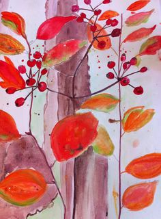 Cathie Hubert Autumn foliage water-colour on Bockingford paper Nov 2013.