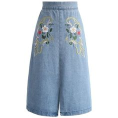 Chicwish Flowers on the Road Embroidered Denim Skirt
