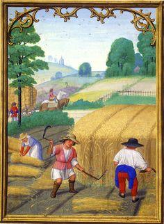 August - Da Costa Hours, in Latin Illuminated by Simon Bening (1483/84–1561) Belgium, Bruges, ca. 1515 - Pierpont Morgan Library, Da Costa hours (MS M.399)