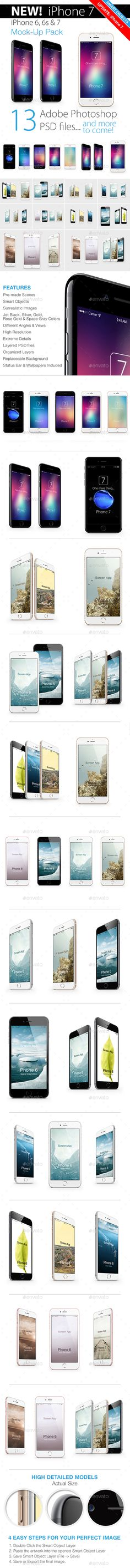 #iPhone 7 & 6s #Mockup Pack - Mobile #Displays Download here: https://graphicriver.net/item/iphone-7-6s-mockup-pack/8947116?ref=alena994