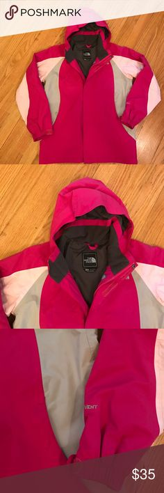 Girl's North Face Spring Windbreaker Jacket Large Girl's North Face Spring Windbreaker Jacket Size Large. (14/16) Great condition. Shell 100% nylon. Color is dark pink, light pink and gray. Would also fit a women's x-small. North Face Jackets & Coats