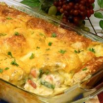 Easy Chicken Pot Pie Casserole Recipe: An impossible pie with an herbed biscuit topping. Great family meal.