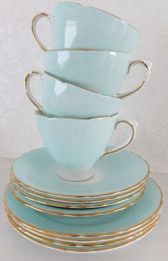 OMG! Two of your very favorite things rolled into one pretty pretty package.   Vintage Delphine Bone China tea set - shabby chic - duck egg blue / aqua