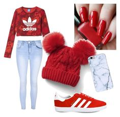 """""""🔴"""" by alexia-couture ❤ liked on Polyvore featuring adidas, Gap and Glamorous"""