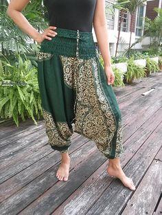 Green Jumpsuit & Drop Crotch Harem Pants Aztec by TribalSpiritShop