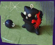 Cute black Cat-Zodiac: Cancer, handmade, polymerclay, miniature figurine, pet animal, mobile phone charm, jewel, gemstone, astrology, crab