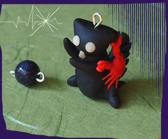 Cute black Cat-Zodiac: Cancer, handmade, polymerclay, miniature figurine, pet animal, mobile phone charm, jewel, gemstone, astrology, crab