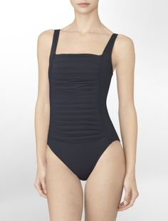pleated one-piece bathing suit - swim- Calvin Klein