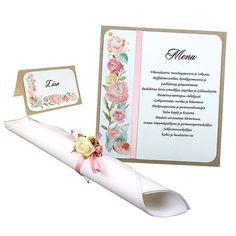 Kukka-aiheisilla papereilla saat myös valmistettua menu- sekä paikkakortit.
