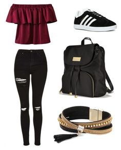 """""""Red sinks in black 🔥"""" by fashion050 ❤ liked on Polyvore featuring adidas, Victoria's Secret and Simons"""