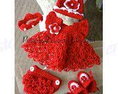Valarie ....5 PATTERNS PT084, Baby GAIL Dress Set, Baby Dress, Baby Christmas Dress Set, Crochet Dress Pattern.