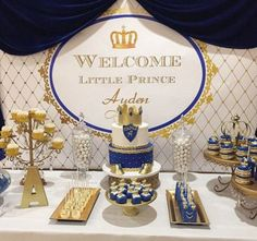 ... Royal Blue & Gold Baby Centerpiece/