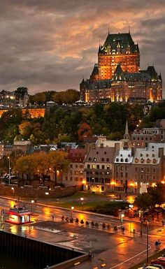Quebec City after the rain at dusk with view of Le Chateau Frontenac on top of the hill Old Quebec, Quebec City, City Aesthetic, Travel Aesthetic, Wonderful Places, Beautiful Places, Places To Travel, Places To Visit, Canada Travel