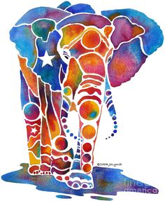 """The Most Whimsical Elephant"" by Jo Lynch. [http://fineartamerica.com]"