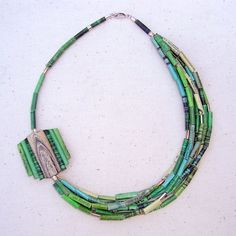 Collar 7 vueltas - verde-turquesa